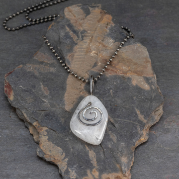 White Pebble Necklace in Oxidized Sterling Silver, Handmade Self-Collected Tumbled Stone Pendant