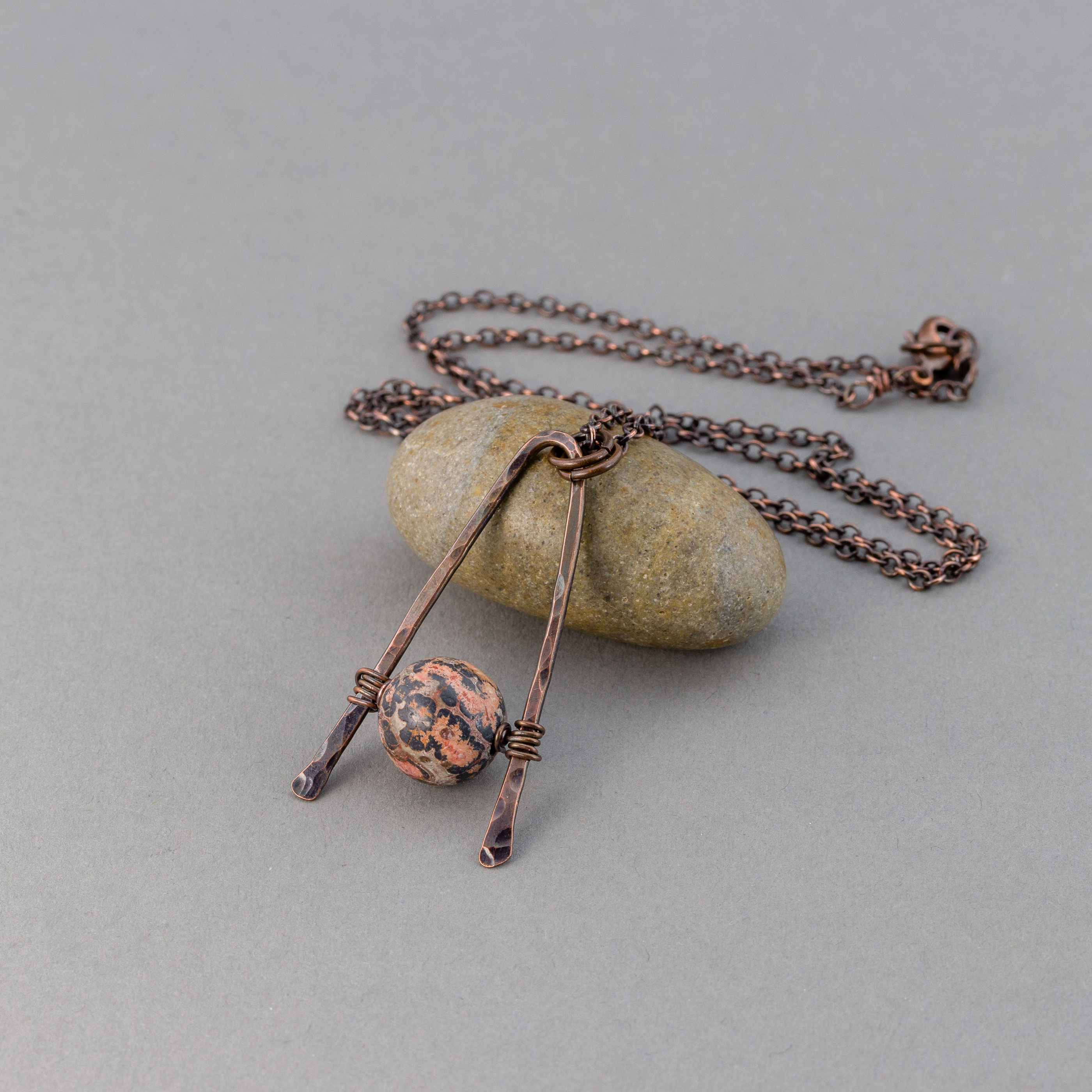 Geometric Pendant Hammered Copper Triangle Necklace With Red Leopardskin Jasper Stone Pebbles At My Feet